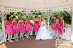 Bridesmaids hang out in the Gazebo at Deer Creek Golf Club