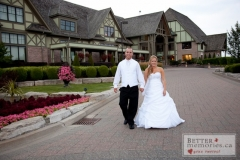 Bride and groom walking outside at Deer Creek Golf and Country Club