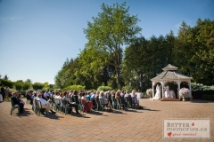 Outdoor wedding ceremony in the gazebo garden at Deer Creek Golf Club
