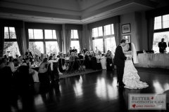 Bride and Groom dancing for their first dance as a couple in the reception hall at Deer Creek Golf Club