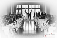 Indoor wedding ceremony at Deer Creek Golf Club