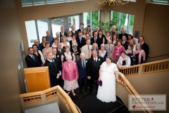 Indoor group photography of all the guests at the wedding at Oshawa Golf Club