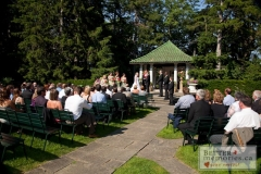 Wedding Ceremony in the gardens at Parkwood Estate