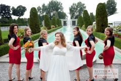 Bride with her bridesmaids by the fountains