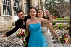 Bride and Groom with a Bridesmaid