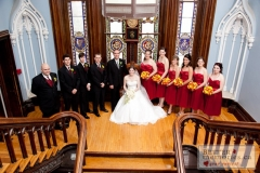 Wedding Party inside by the staircases