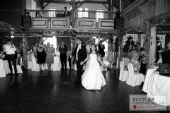 Bride and Groom holding hands as they enter the reception hall at Trillium Trails